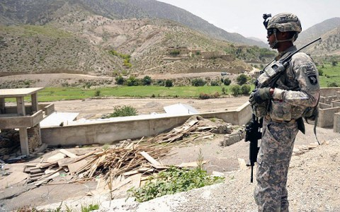 U.S. Army Staff Sgt. George Shelton, a senior scout with Troop A, 1st Squadron, 33rd Cavalry Regiment, 3rd Brigade Combat Team, provides over watch security on the Spera District Center, Khowst Province, Afghanistan, as a provincial key leader engagement is about to take place inside. (Photo by U.S. Army Pfc. Chris McKenna, 3rd Brigade Combat Team Public Affairs)