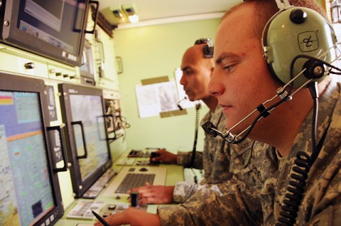 U.S. Army Spc. Edwin Ortiz from Puerto Rico and U.S. Army Pfc. Kevin Batchelor from Crestview, FL, both Shadow Unmanned Aerial Vehicle operators from Company B, 4th Brigade Special Troops Battalion, 4th Brigade Combat Team, 101st Airborne Division, maneuver the aircraft and control its payload during the Shadow's first Task Force Currahee combat mission in Paktika Province Sept. 8th. (Photo by U.S. Army Spc. Kimberly K. Menzies, Task Force Currahee Public Affairs)