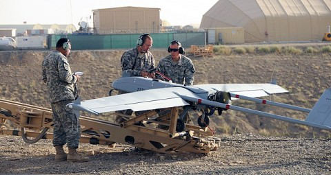 U.S. Army Sgt. Robert Pardo, a Kingsville, Texas, native and Shadow maintenance noncommissioned officer from Company B, 4th Brigade Special Troops Battalion, 4th Brigade Combat Team, 101st Airborne Division, supervises a final preflight inspection of the Shadow before it flies its first official Task Force Currahee mission in Paktika Province Sept. 8th. (Photo by U.S. Army Spc. Kimberly K. Menzies, Task Force Currahee Public Affairs)