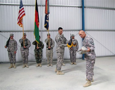 U.S. Army Lt. Col. David Womack, a Roanoke, VA, native, and U.S. Army Command Sgt. Maj. Charles Judd from Fort Campbell, KY, unveil their Red Currahee Battalion colors, officially taking responsibility of western Paktika Province Sept. 10th. (Photo by U.S. Army 1st Lt. R.J. Peek, 3rd Battalion, 187th Infantry, 101st Airborne Division)