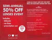 The marketing material for the Semi-Annual 50% Off Sales Event for LensCrafters