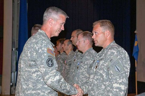 Col. John Thompson, 160th Special Operations Aviations Regiment (Airborne) commander shakes hands with Sgt. Brian Buckingham, a 2nd Battalion crew chief who was awarded two Air Medals (one for Valor) during the battalion awards ceremony at Fort Campbell, KY, August 16th. (Photo courtesy of 160th SOAR)