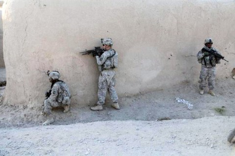Soldiers from Company C, 3rd Battalion, 187th Infantry Regiment, 101st Airborne Division, patrol to clear a village in West Paktika Province, Afghanistan.  The Rakkasan Soldiers are part of Task Force Iron who recently relocated to East Ghazni province to join Task Force White Eagle.  In the first few weeks in their new area of operations, TF Iron has killed numerous insurgents and captures caches of weapons and explosive. (Photo by U.S. Army Spc. Lorenzo Ware, 982nd Combat Camera Co.)