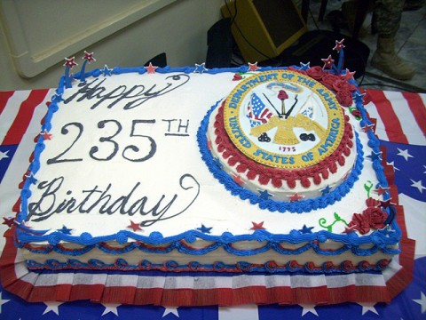 A cake made by U.S. Army Sgt. Bill McDonald, a baker from 101st Headquarters and Headquarters Battalion, is displayed to celebrate the Army's birthday in the Combined Joint Task Force 101 Joint Operations Center on Bagram Airfield June 14th. (Photo by U.S. Army Sgt. Bill McDonald, baker for Combined Joint Task Force 101 commander's dining facility)