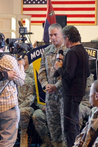 U.S. Army Maj. Gen. John F. Campbell, Regional Command-East, Combined Joint Task Force-101 commander conducts an interview with news show host Geraldo Rivera here Oct. 25th. (Photo by U.S. Army Sgt. Charles Espie, Task Force Wolverine Public Affairs)