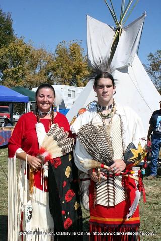 Jill Smith (Head Woman) and Jonathan Byrnes (Head Man) at the 2010 NCC Powwow at Port Royal in Adams, TN