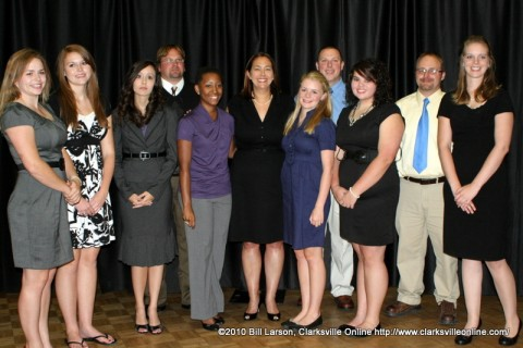 The essay winners with Erin Gruwell at the prize dinner