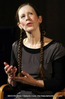 Meredith Monk answering questions after the show