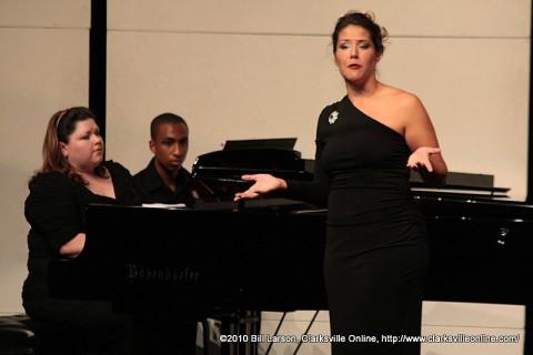 Danielle Talamantes sings as Joy Schreier plays the piano