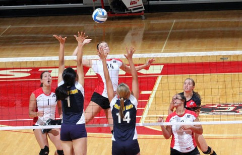 Senior Jessica Mollmann finished with 10 kills, two aces and five blocks against Tennessee Tech, Saturday. (Courtesy: Austin Peay Sports Information)