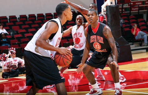 Josh Terry (23) guards Tyshwan Edmondson during Friday's Reigning Red. (Courtesy: Austin Peay Sports Information)