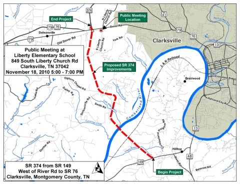 Proposed improvements to SR-374 from SR-149 west of River Road to SR-76 in Clarksville, Montgomery County, TN.