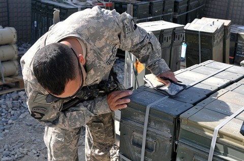 U.S. Army Sgt. Brandon R. Mendez of Clarksville, TN, an Administrative and Logistics Operations Center Soldier with 1st Squadron, 32nd Calvary Regiment, Task Force Bandit, inventories ammunition before shipping it off to his unit in eastern Afghanistan's Kunar Province Oct. 24th. (Photo by U.S. Army Spc. Richard Daniels Jr., Task Force Bastogne Public Affairs)