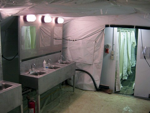 Newly constructed shower tents provide efficient hygiene capabilities at Forward Operating Base Andar in Ghazni Province. The Soldiers of the forward support company were instrumental in the construction and the improvements in the quality of life. (Photo by U.S. Army 1st Lt. R.J. Peek, 3rd Battalion, 187th Infantry, 101st Airborne Division)