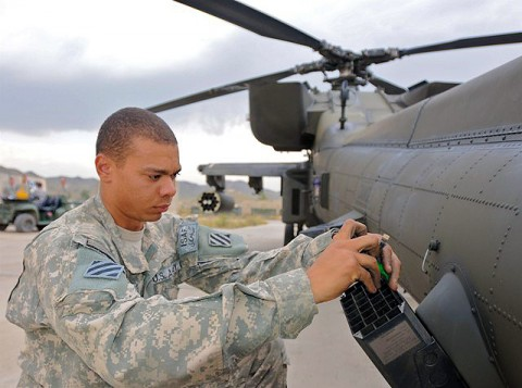 U.S. Army Spc. Spencer Riddick, an AH-64 Apache helicopter armament, electronics and avionics repairer from Ridgecrest, CA, assigned to Company D, Task Force Viper works to disassemble and clean a chaff dispenser on the tail section of an Apache on Forward Operating Base Salerno Sept. 30th. (Photo by U.S. Army Staff Sgt. Brent C. Powell, 3rd Brigade, 101st Airborne Division)