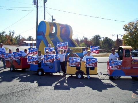 """The """"Burkhart Train"""" held an enthusiastic group of people showing their desire to elect Jeff as their new mayor."""
