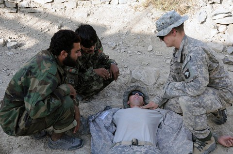 U.S. Army Spc. Jon C. Humphries, a combat medic, instructs Afghan National Army soldiers on the various locations to check a casualties pulse. Humphries walked ANA soldiers through the ABCs of life-saving, teaching them to check for a blocked airway, circulation of the blood and to ensure the casualty is still breathing during a class held Sept. 27th on Combat Outpost Munoz. (Photo by U.S. Army Spc. Luther L. Boothe Jr., Task Force Currahee Public Affairs Office)