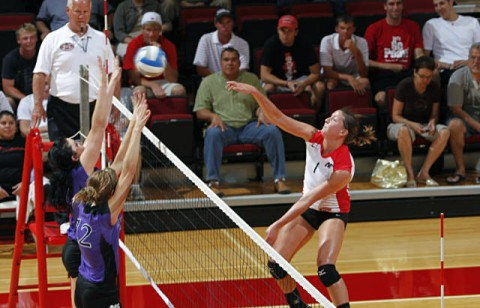 Junior Kayla Grantham posted a Lady Govs single-match best .545 attack percentage, Tuesday, at Morehead State. (Courtesy: Robert Smith/The Leaf-Chronicle)