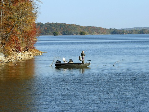 One of many fishermen enjoying the fall colors surrounding the lakes.