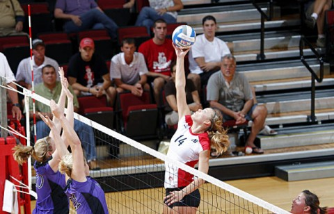Senior Jessica Mollmann finished with 10 kills, seven aces and four blocks to lead Austin Peay past Jacksonville State, Friday night. (Courtesy: Robert Smith/The Leaf-Chronicle)