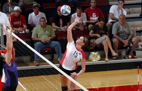 Senior Taylor Skinner led Austin Peay with eight kills and eight blocks at UT Martin, Friday. (Courtesy: Robert Smith/The Leaf-Chronicle)