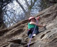 Rock climbing.