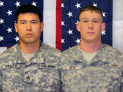 Staff Sgt. David J. Weigle (left) and Spc. David A. Hess (right).