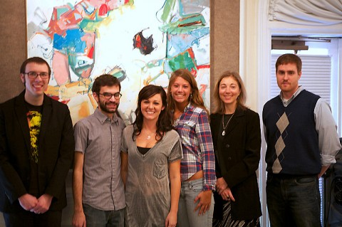 The readers at this year's 16th Annual Bread and Words Benefit are (from left) Quincy Rhoads, Devon Walls, Bryanna Licciardi, Alexa Doran, Dr. Amy Wright, assistant professor of English, and Charles Booth (Photo By Barry Kitterman)