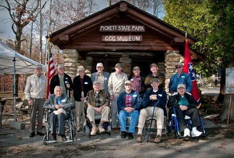 Thirteen former CCC workers from across the state were in attendance as special guests at Pickett State Park's new Civilian Conservation Corps Museum dedication. (Photo by Terry Bonham)