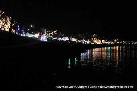 The Christmas lights along the Cumberland River