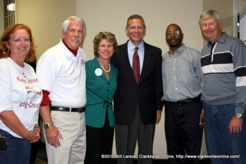 The Victorious Candidates: Kaye Jones, Geno Grubbs, Kim McMillan, Joe Pitts, Marc Harris, and Bill Summers at the Riverview Inn on election night.