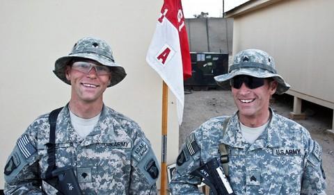U.S. Army Spc. Brandon J.V. Ragle (left), and his older brother, U.S. Army Sgt. Bradley J. Ragle, both of Troop A, 1st Squadron, 61st Cavalry Regiment. (Photo by U.S. Army Staff Sgt. Ryan C. Matson, Task Force Bastogne Public Affairs)