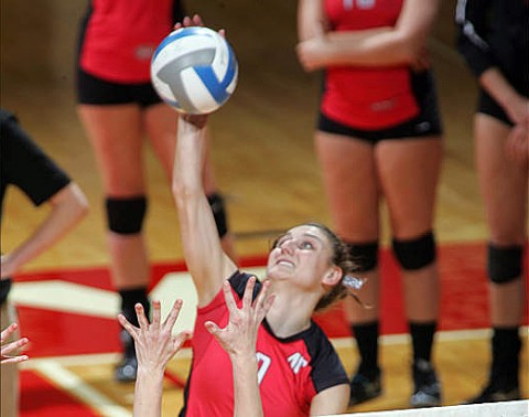 Sophomore Nikki Doyle led the Lady Govs with 20 kills in their semifinal victory against Tennessee Tech, Friday.  (Courtesy: Keith Dorris/Dorris Photography)