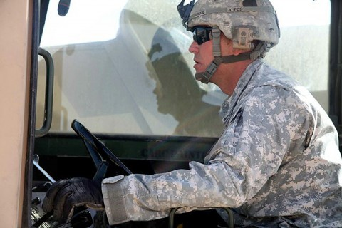 U.S. Army Cpl. Sean C. Bruce, a motor transportation specialist with Company A, 801st Brigade Support Battalion, 4th Brigade Combat Team, 101st Airborne Division and native of Salina, KS, picks up a pallet of supplies with a forklift destined for a convoy logistic patrol Nov. 6th. CLPs allow the Currahees to move large amounts of supplies throughout Paktika Province. (Photo by U.S. Army Spc. Lorenzo Ware, Task Force Currahee Public Affairs)
