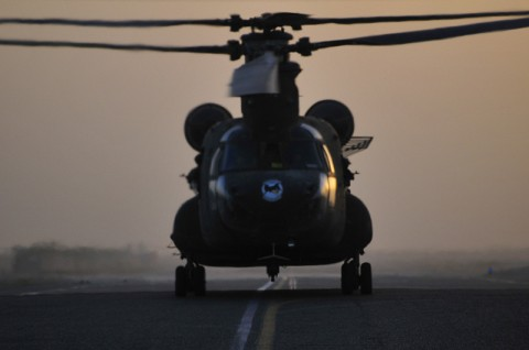 A CH-47D Chinook helicopter. (Photo by Sgt. 1st Class Sadie Bleistein, 101st Combat Aviation Brigade)