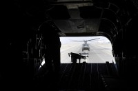 Two 101st Combat Aviation Brigade, Task Force Destiny Chinooks deliver supplies to ground forces throughout Southern Afghanistan. (Photo by Sgt. 1st Class Sadie Bleistein, 101st Combat Aviation Brigade)