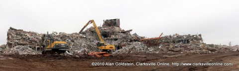 A panorama of the front of the former location of Gateway Hospital on Madison Street prior to the last element coming down