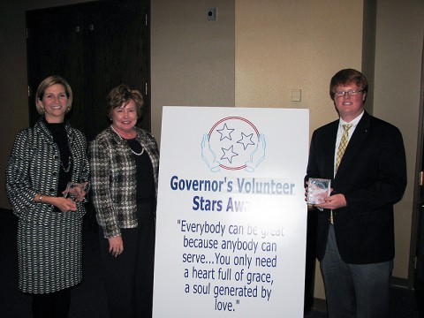 L to R – Dr. Jeannie Beauchamp, Montgomery County Mayor Carolyn Bowers and Chris Davis.