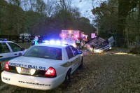 Officer Altman and Officer Gilliard inspecting the crash scene. (Photos CPD/PIO-Jim Knoll)