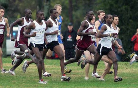 Junior Enock Langat (right) received second-team All-OVC honors at the OVC Men's Cross Country Championships, Saturday. (Courtesy: Keith Dorris/Dorris Photography)