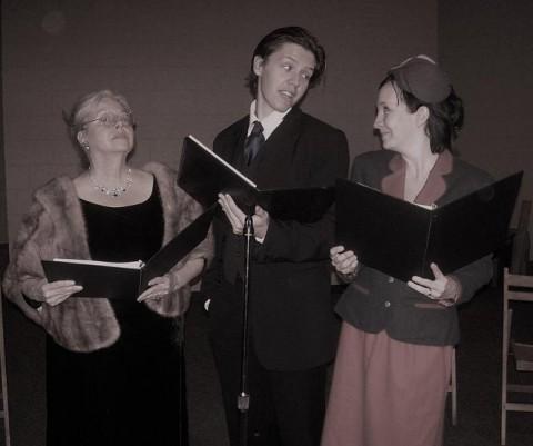 Cast members Beth Mitchell, Josh Webb and Beth Britton rehearse
