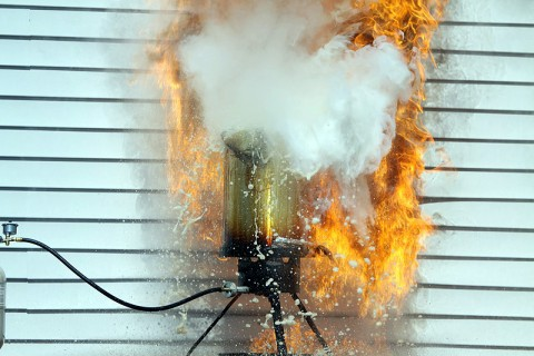 Oil splatters out of a fryer, causing a burst of smoke and flames that can easily burn a house, or even worse, an adult or child.