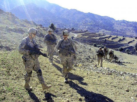 Soldiers assigned to 2nd Battalion, 327th Infantry Regiment, Task Force Bastogne, 1st Brigade Combat Team, 101st Airborne Division, hike the hilly terrain in eastern Afghanistan's Kunar Province Dec. 10th during Operation Eagle Claw II. The purpose of the mission is to rid the Pech River Valley of insurgent activity in order to provide a secure and stable environment for Afghans who live in the area. (U.S. Army courtesy photo)