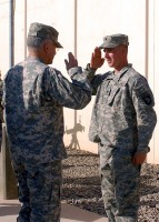 Chief of Staff of the Army Gen. George Casey salutes U.S. Army Spc. Nicholas Robinson after awarding him the Silver Star Medal. (Photo by U.S. Army Pfc. Christopher McKenna)
