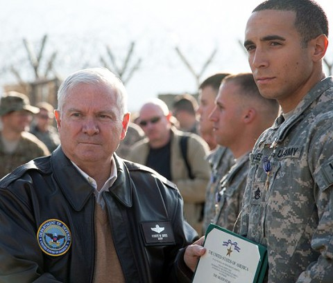 U.S. Army Staff Sgt. Daniel J. Hayes of Wyoming, MI, 2nd Battalion, 327th Infantry Regiment, 1st Brigade Combat Team, 101st Airborne Division, is awarded the Silver Star Medal by the Secretary of Defense Robert Gates at Forward Operating Base Joyce Dec. 7th. Hayes was awarded the Silver Star for valorous actions against armed and heavily fortified enemies during Operation Strong Eagle. (Photo by U.S. Army Spc. Andy Barrera/Released)