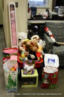 Toys at F&M Bank waiting to be picked up for distribution to needy children