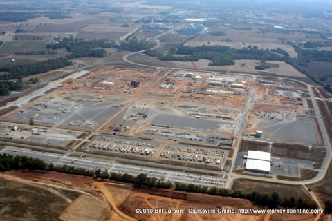 An aerial view of the Hemlock Semiconductor construction site. Photo taken in October 2010