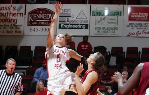 Freshman Nicole Olszewski led Austin Peay with 18 points in its OVC victory against Eastern Kentucky, Sunday. (Courtesy: Keith Dorris/Dorris Photography)