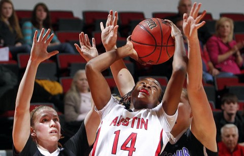 Sophomore Neika Smith scored four points, including this putback with nine seconds remaining in the Lady Govs loss to Lipscomb, Wednesday. (Courtesy: Robert Smith/The Leaf-Chronicle)