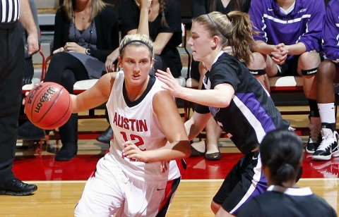 Junior Whitney Hanley has 12 points, seven rebounds and two blocked shots in the Lady Govs victory against Morehead State, Tuesday. (Courtesy: Austin Peay Sports Information)
